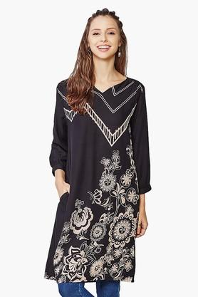 GLOBAL DESI Womens Printed High-low Tunic