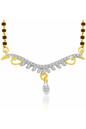 SPARKLES Gold Mangalsutra With Diamond Pendant Set - N9253