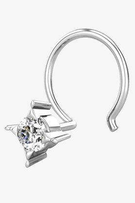 VELVETCASE Womens 18 Karat White Gold Nose Ring (Free Diamond Pendant) - 201065018
