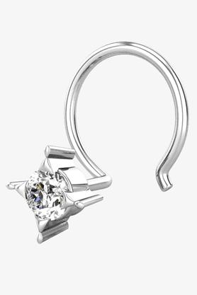 VELVETCASEWomens 18 Karat White Gold Nose Ring (Free Diamond Pendant) - 201065018