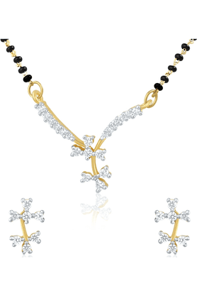 MAHI Gold Plated Mangalsutra Pendant Set With CZ For Women NL1101486G