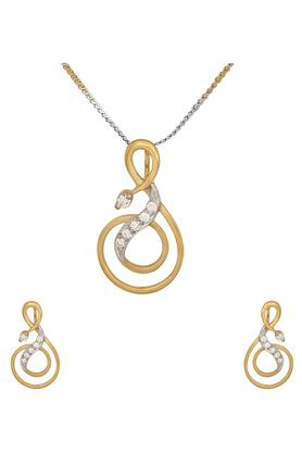 WAMAN HARI PETHEWomens Aabha Collections Diamond Pendant Set DLTSD16008554