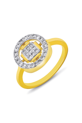 MAHI Mahi Gold Plated Square And Round Geometric Fingering With CZ For Women FR1100106G