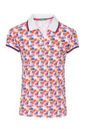 Girls Dot Pattern Polo Tee