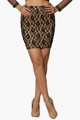 MISS CHASE Womens Self Pattern Short Skirt - 202511527