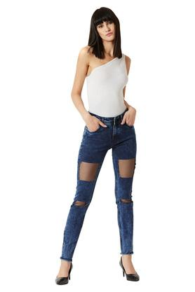 Womens Relaxed Fit Mid Rise Heavy Wash Jeans