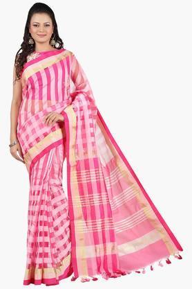 JASHNWomen Chanderi Self-Woven Checks Saree
