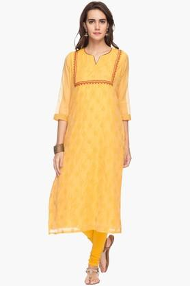RS BY ROCKY STAR Womens Embroidered Notched Neck Kurta
