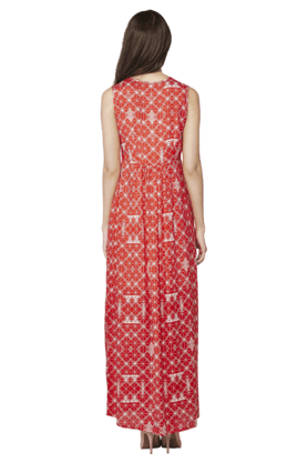 Womens Printed Sleeveless Maxi Dress