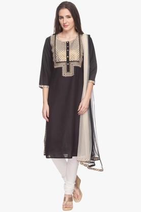 Womens Embroidered Churidar Suit
