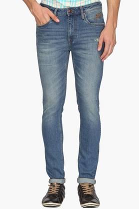 ED HARDYMens Slim Fit 5 Pocket Mild Wash Jeans