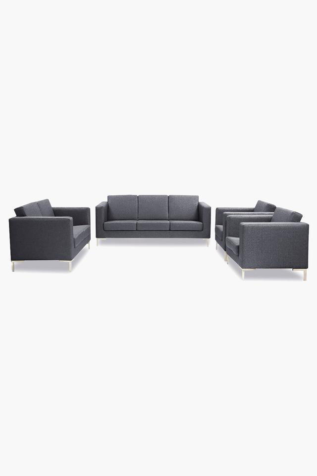 Passive Grey Fabric Sofa (3-2-1-1 Sofa Set)