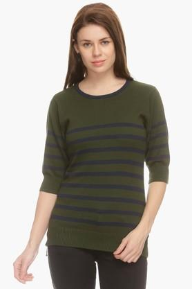 EXCLUSIVE LINES FROM BRANDS NOI Womens Round Neck Stripe Sweater