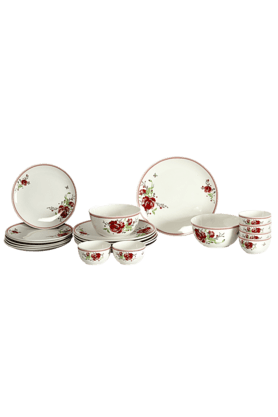 DEVON NORTH Red Poppy Diner Set (Set Of 20)