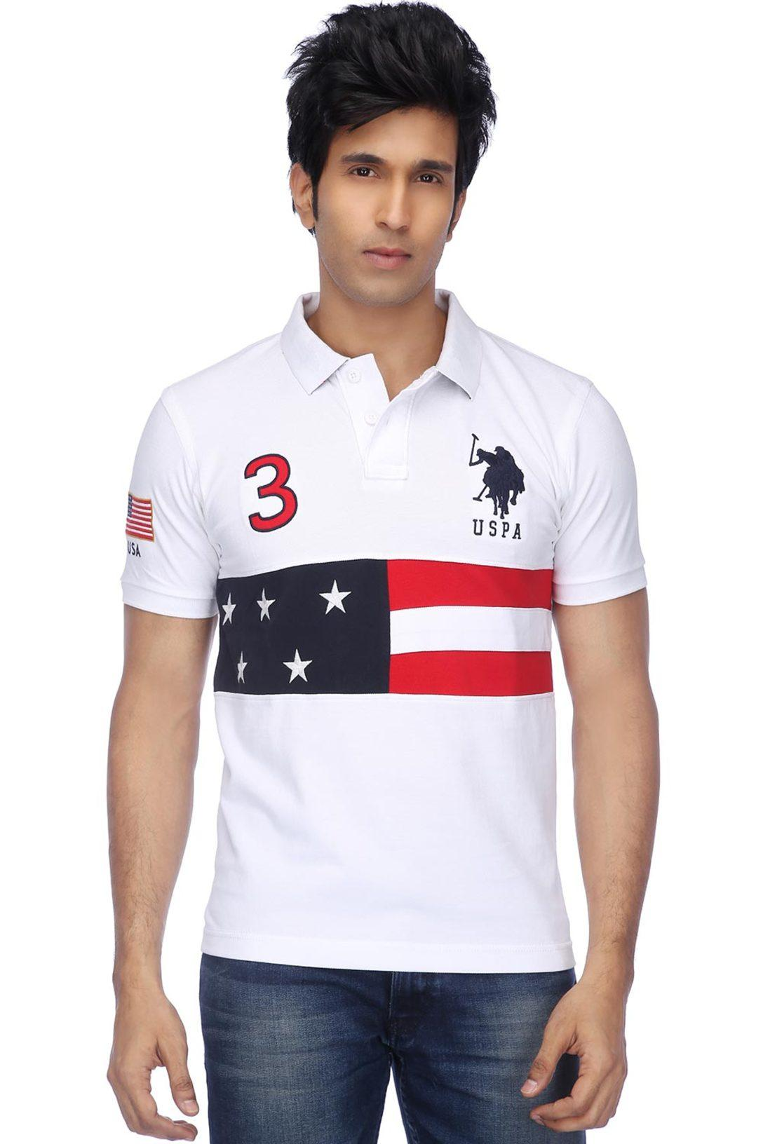 21bb1038 Buy U.S. POLO ASSN. U.S.Polo.Assn-Mens Short Sleeves Slim Fit Print Polo T- Shirt | Shoppers Stop