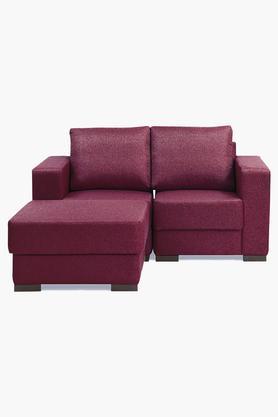 Cranberry Maroon Fabric Modular Sofa (1 Left - 1 Right - 1 Pouf)