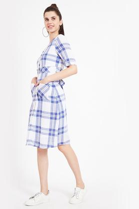 Womens V Neck Checked Knee Length Dress