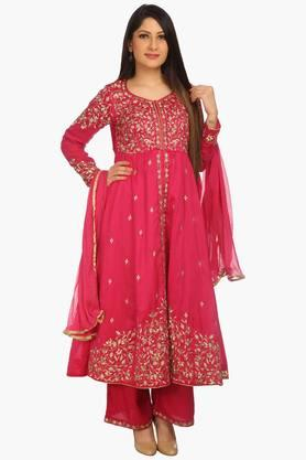 Womens Flared Cotton Silk Palazzo Suit