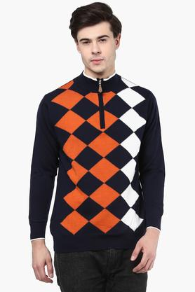 MONTE CARLO Mens High Neck Check Pullover
