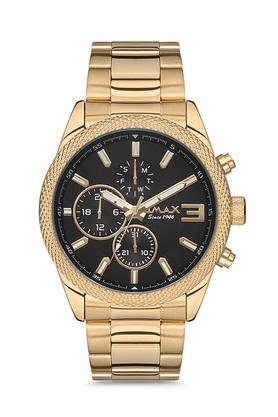 Mens Omax Masterpiece Black Dial Stainless Steel Multi-Function Watch - FA9-GX38G21I