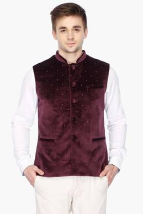 Mens Mao Collar Printed Nehru Jacket