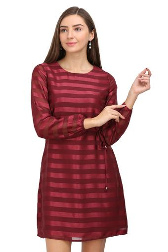 Womens Round Neck Striped A-Line Dress