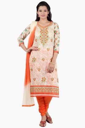 JASHNWomen Floral Embroidered Chanderi Churidaar Kameez Dupatta - 201967050