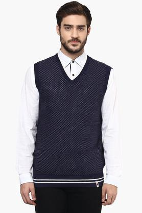 LOUIS PHILIPPE SPORTSMens V Neck Printed Sweater