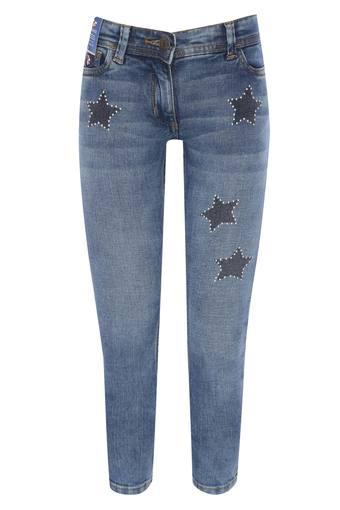 Girls Whiskered Effect Jeans