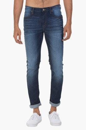 LEE Mens 5 Pocket Skinny Fit Heavy Wash Jeans (Bruce Fit) - 202175823