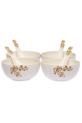IVYGold Dust Soup Bowl With Spoon (Set Of 4)