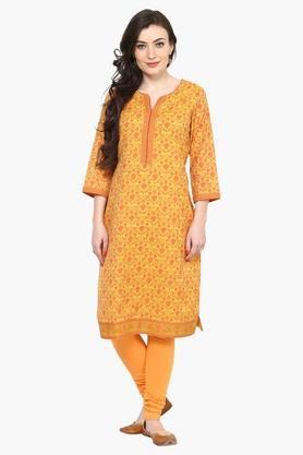 Women Poly Cotton Straight Kurta - 202359218