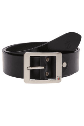 LOUIS PHILIPPE Mens Black Leather Sports Formal Belt