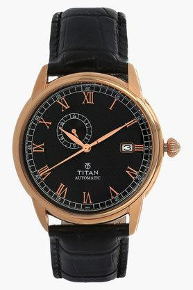 TITANMens Brown Dial Leather Strap Watch
