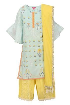 Girls Round Neck Floral Print Salwar Suit