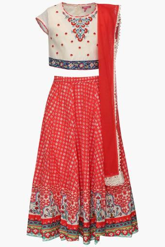 Girls Round Neck Printed Ghaghra Choli and  Dupatta Set