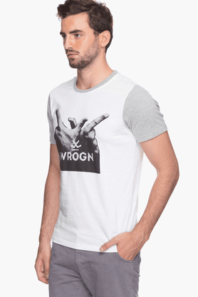 Mens Short Sleeves Round Neck Slim Fit Printed T-Shirt