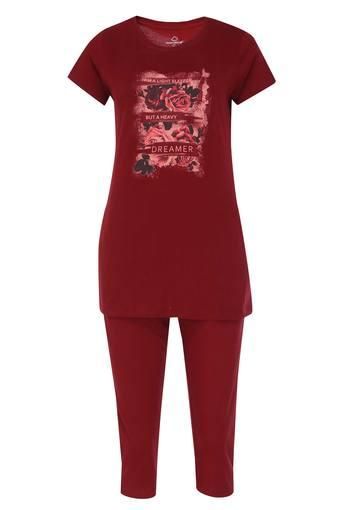 Womens Round Neck Floral Print Top and Capris Set