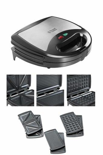 Buy Russell Hobbs Rst750m3 Non Stick 750w 3 In 1 Sandwich Maker Sandwich Toast Waffle Grill Toaster With Detachable Multi Plate Shoppers Stop