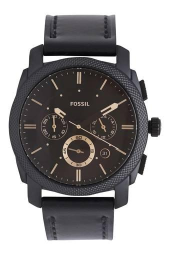 Mens Black Dial Leather Chronograph Watch - FS5586I