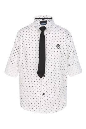 Boys Round Neck Printed Shirt with Tie
