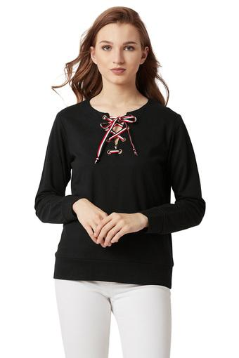 Womens Criss Cross Neck Twill Tape Detailing Solid Sweatshirt