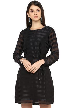 Womens Round Neck Striped A-Line Dress
