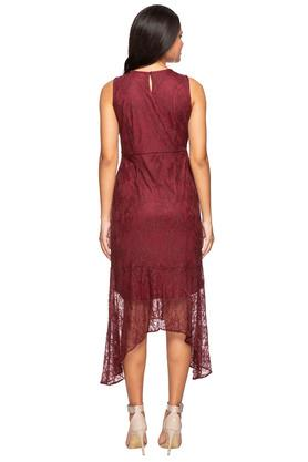 Womens Round Neck Lace Asymmetrical Dress