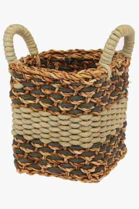 BACK TO EARTH Green Mix Square Jute Basket