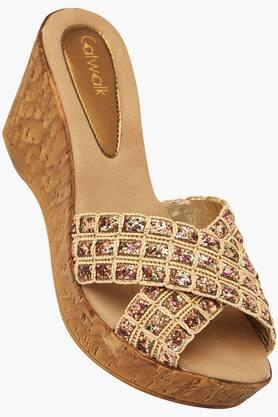 CATWALKWomens Ethnic Slipon Wedge Sandals (Buy 2 Get Flat 33% On Lower MRP)