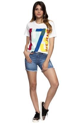 Womens 5 Pocket Distressed Shorts
