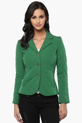 THE VANCA Womens Solid Quilted Notched Lapel Jacket - 201743796
