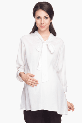 NINE MATERNITY Womens Comfort Fit Solid Shirt