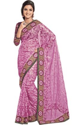 DEMARCA Womens Embroidered Saree (Buy Any Demarca Product & Get A Pair Of Matching Earrings Free) - 200946960